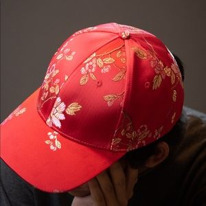 Red Floral Satin Hat